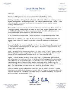 Statement for MLK Jr. Holiday from Senator Jeff Merkley